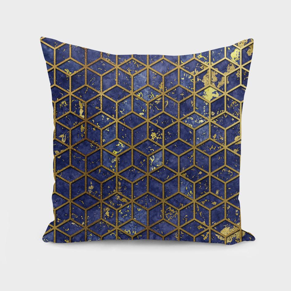 Golden line cube pattern.