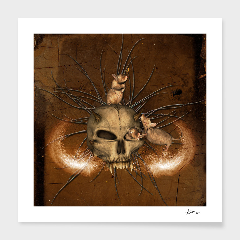 Awesome skull with rat