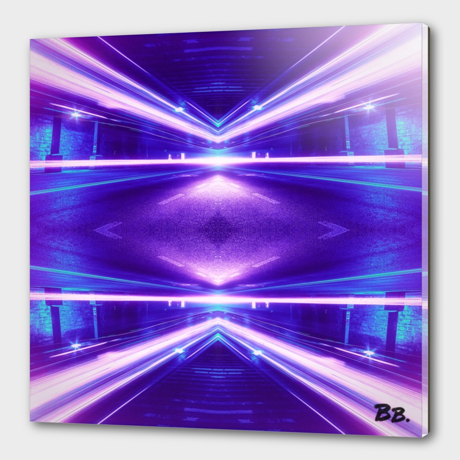 Geometric Street Night Light (HDR Photo Art) Purple