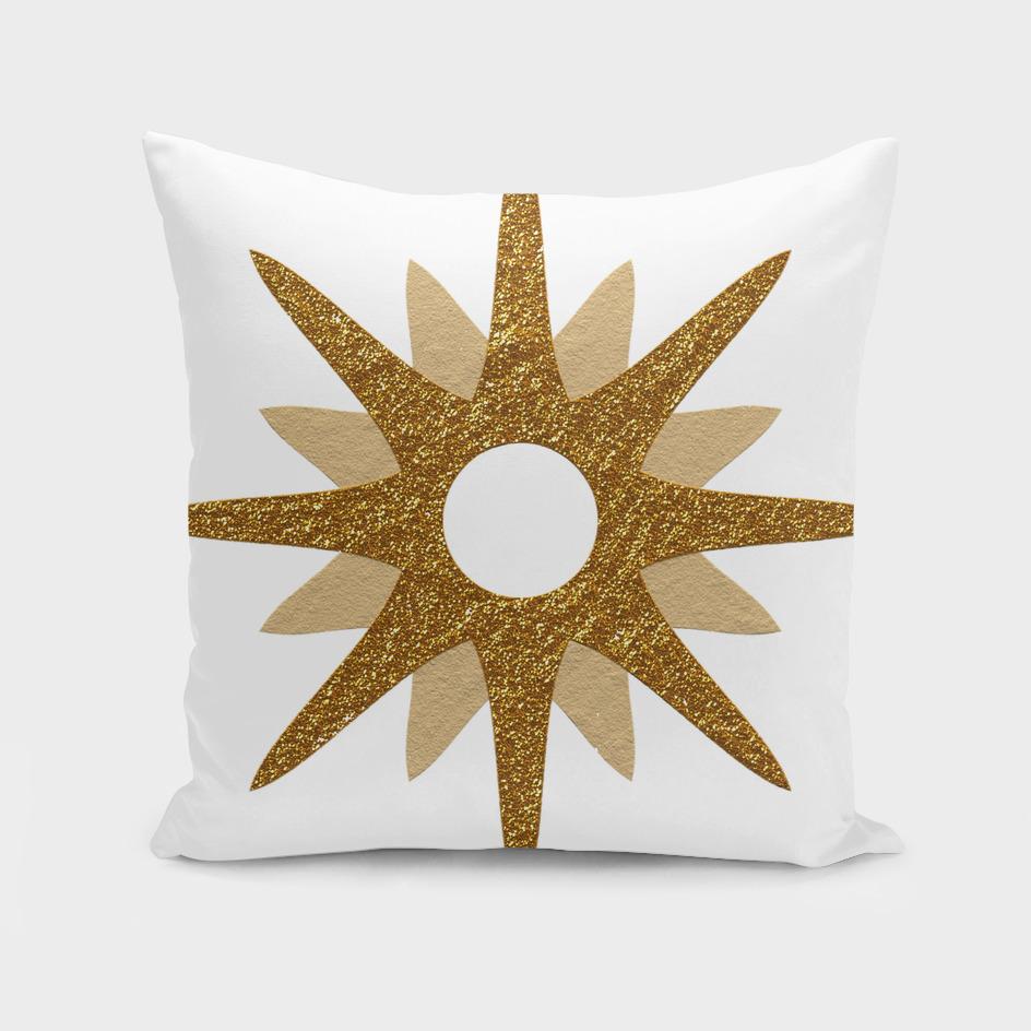Star golden glittering yellow rays