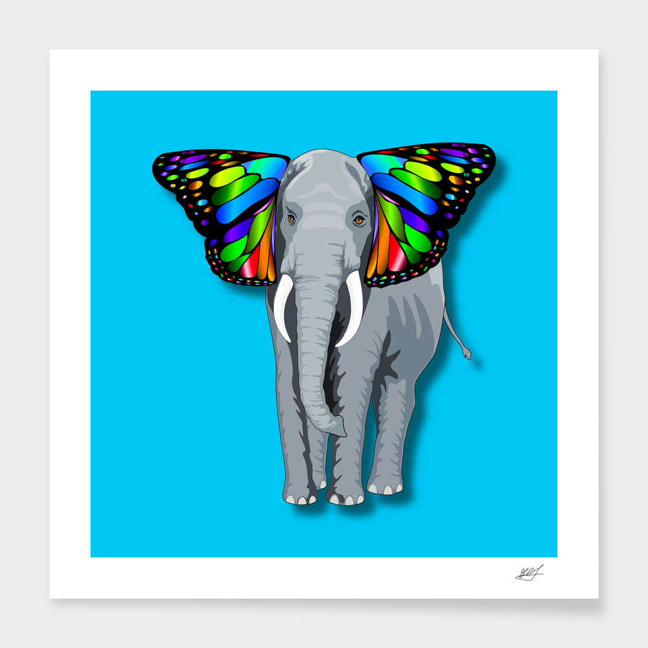 Psychedelic Grey Elephant With Butterfly Ears