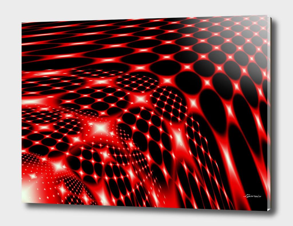 Red glowing net pattern
