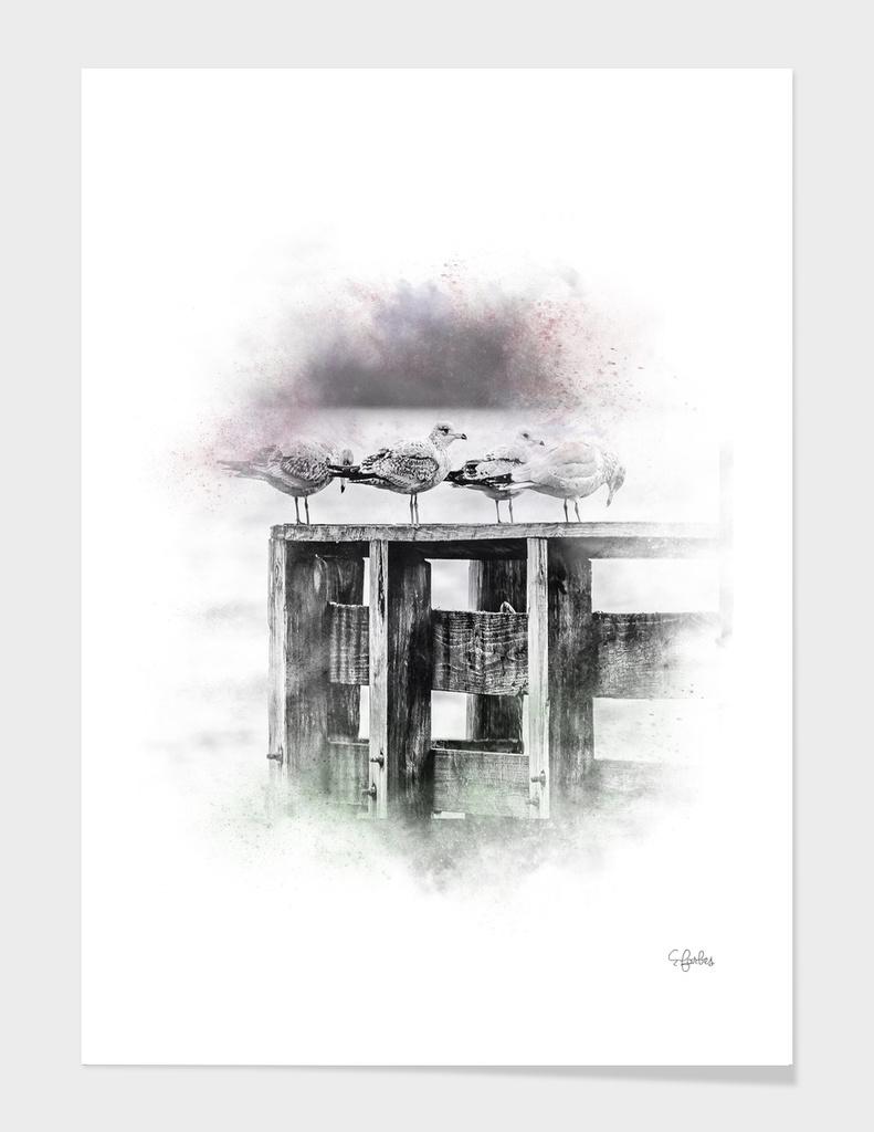 Bird on dock watercolor