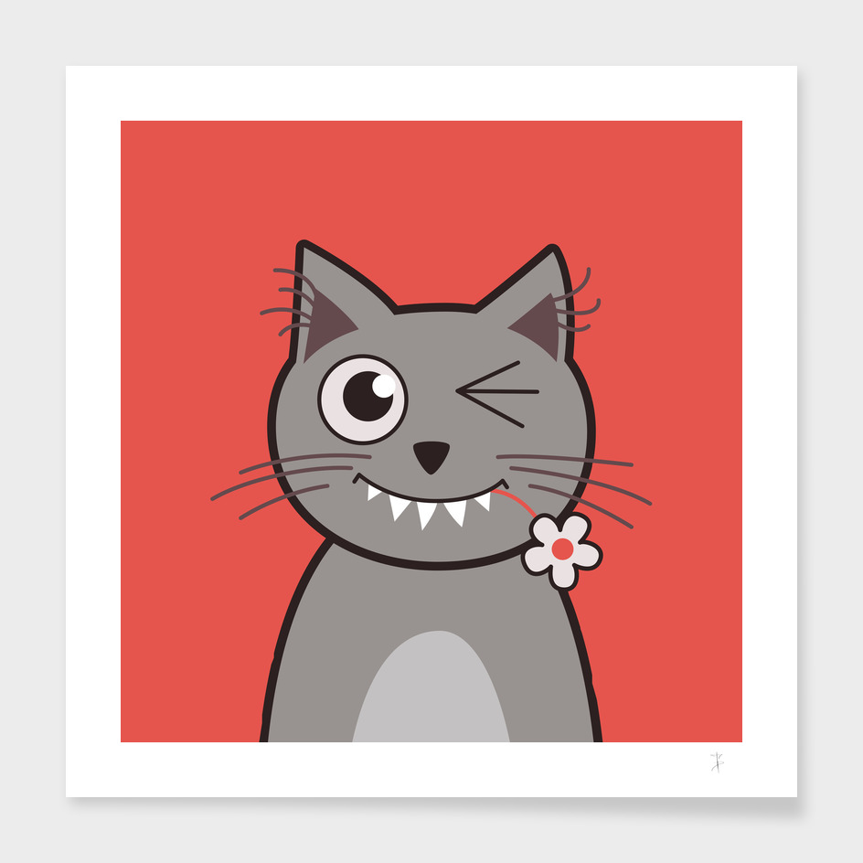 Funny Winking Cartoon Kitty Cat