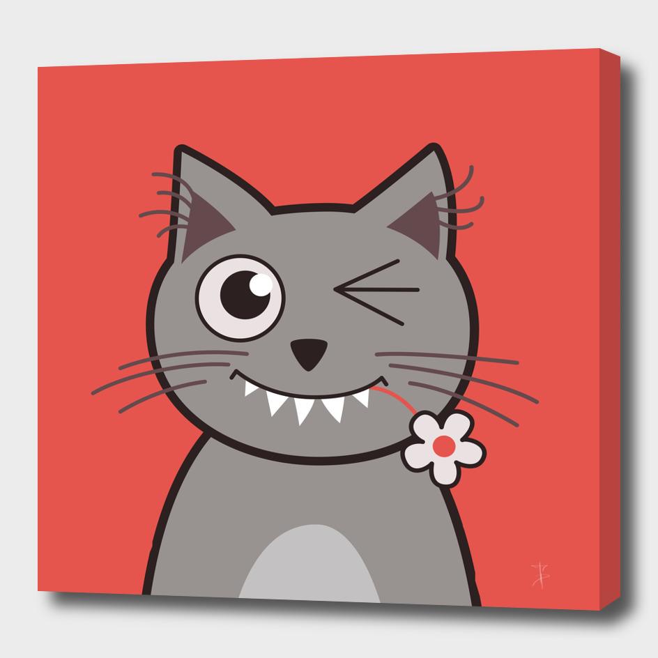 Funny Winking Cartoon Kitty Cat