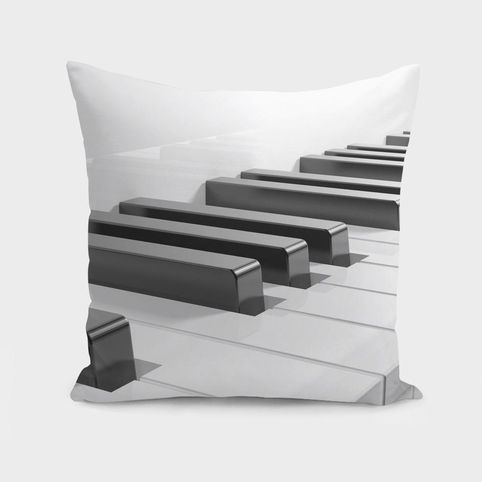Keyboard of a white piano