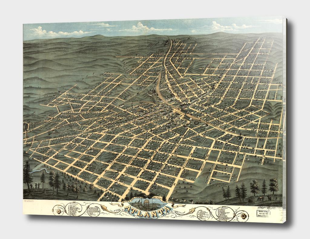 Vintage Pictorial Map of Atlanta Georgia (1871)