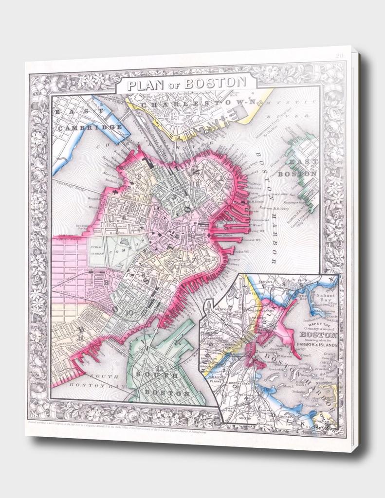 Vintage Map of Boston Massachusetts (1864)