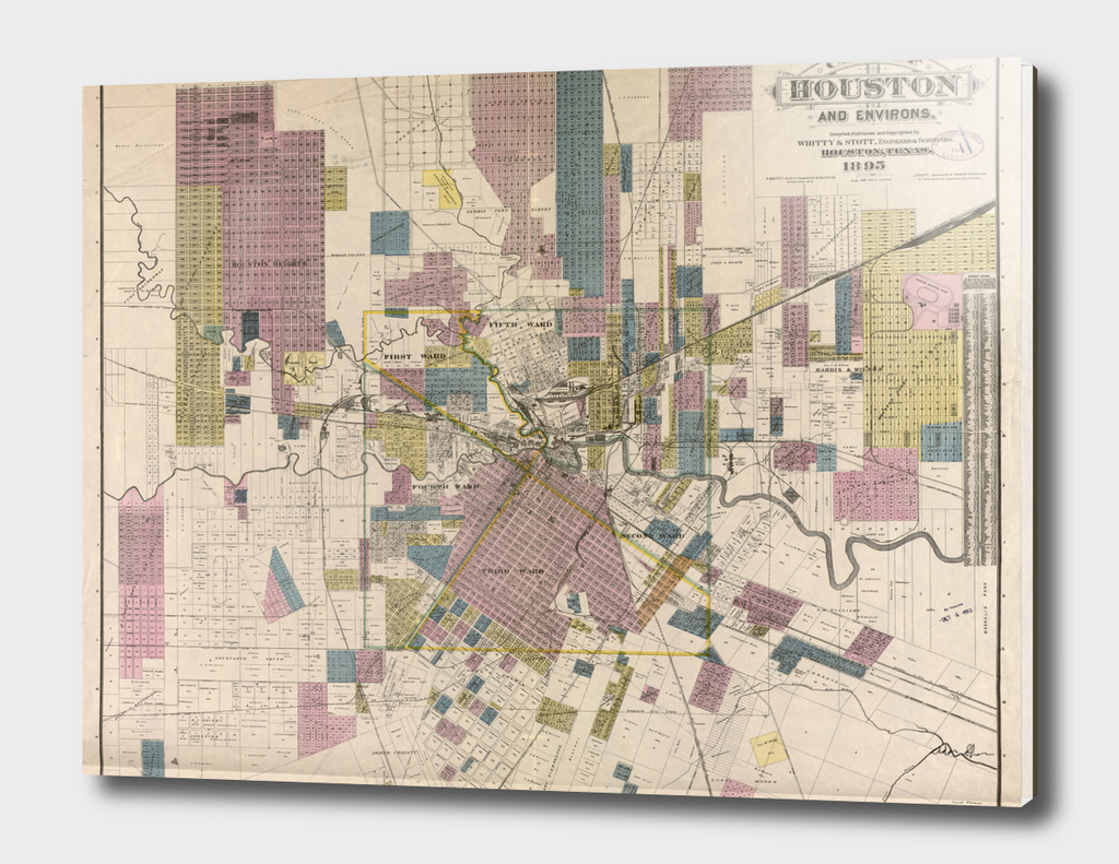 Vintage Map of Houston Texas (1895)