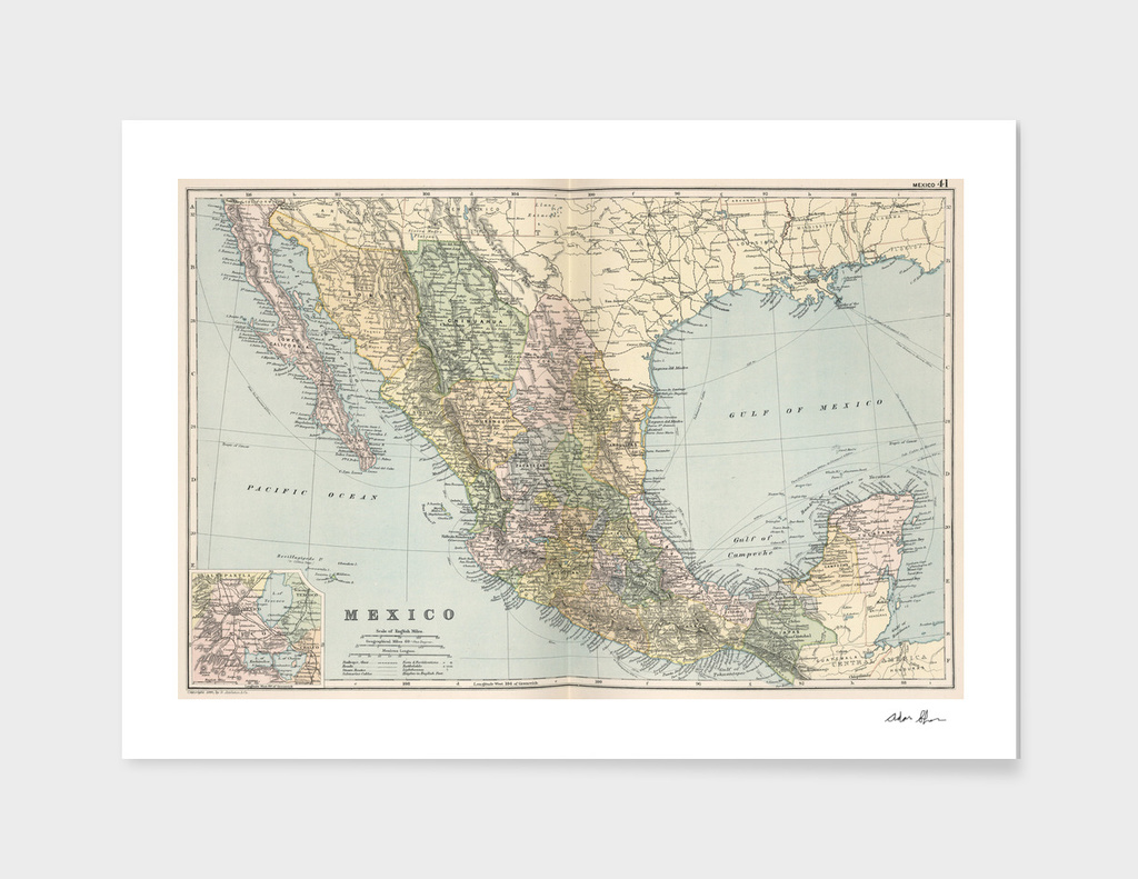 Vintage Map of Mexico (1891)