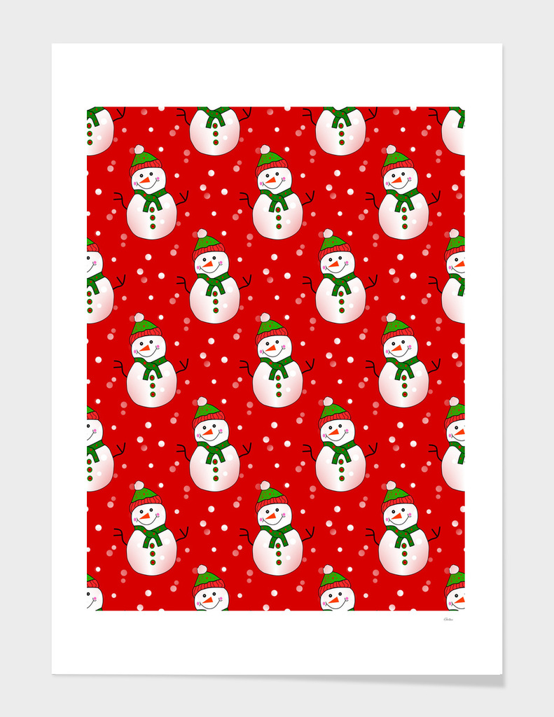 Snowman Pattern Red