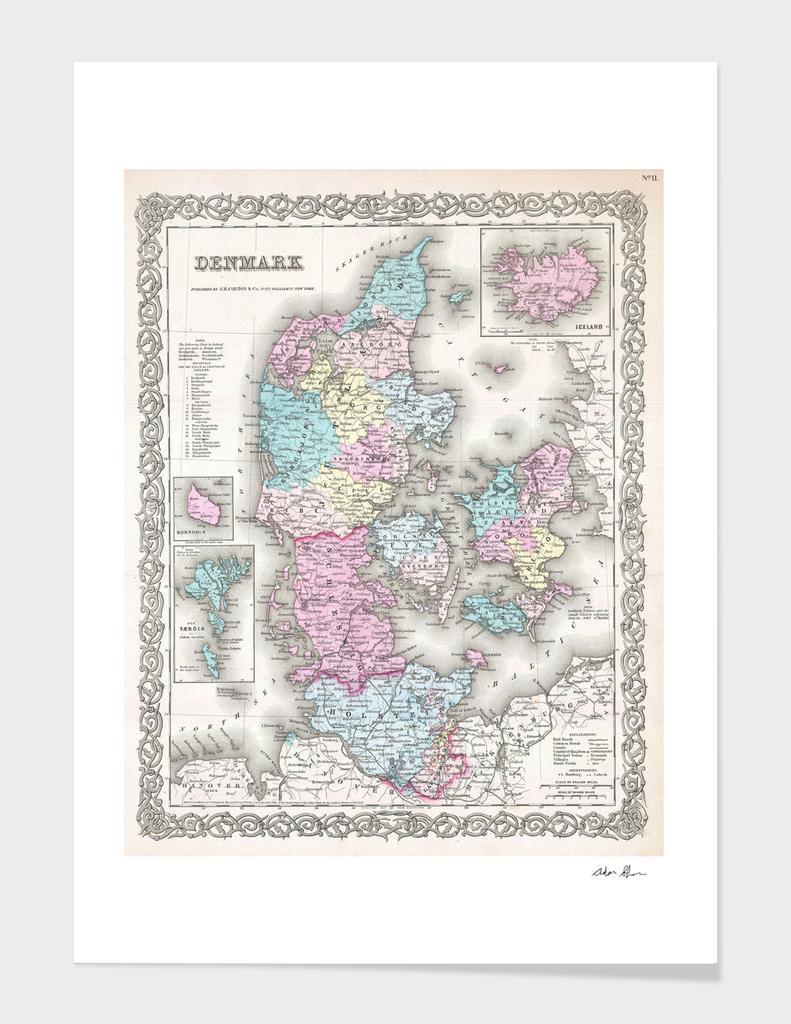 Vintage Map of Denmark (1855)