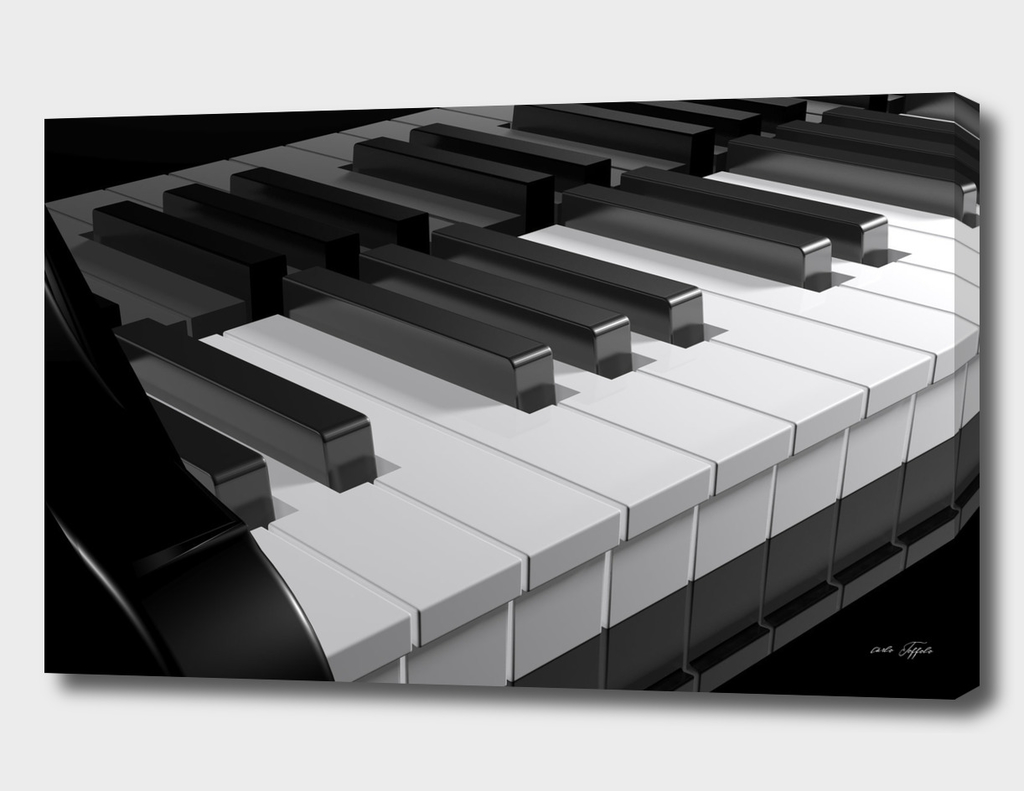 Keyboard of a black piano - 3D rendering