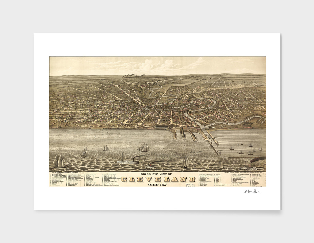 Vintage Pictorial Map of Cleveland Ohio (1877)