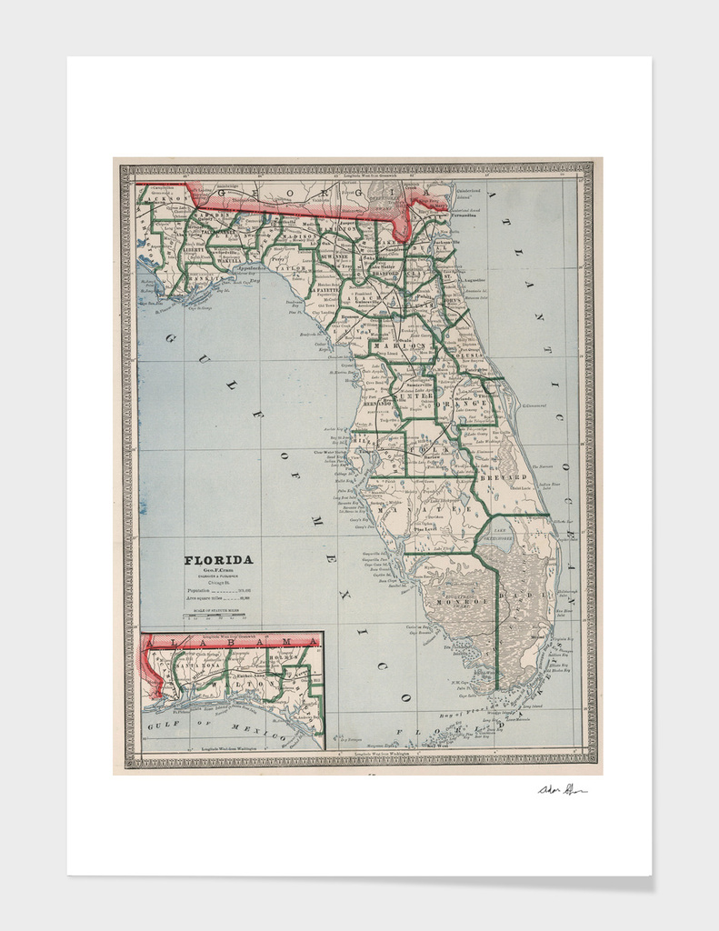 Vintage Map of Florida (1883)