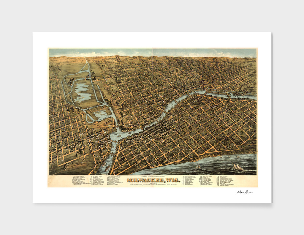 Vintage Pictorial Map of Milwaukee Wisconsin (1879)