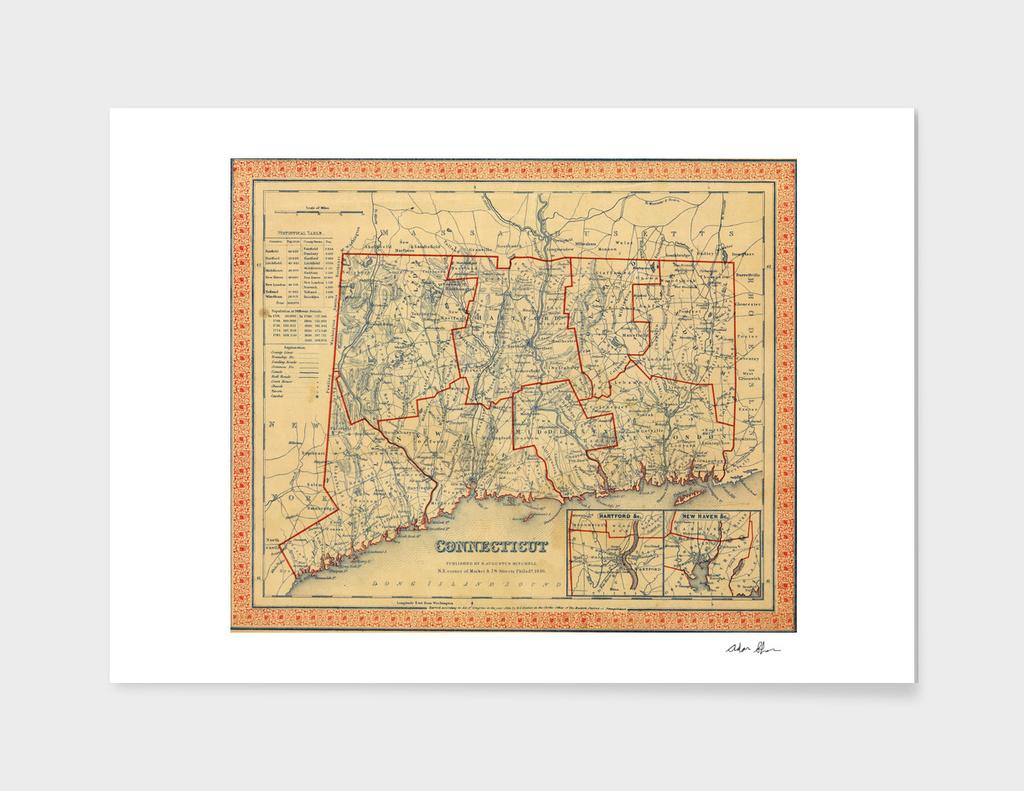 Vintage Map of Connecticut (1846)