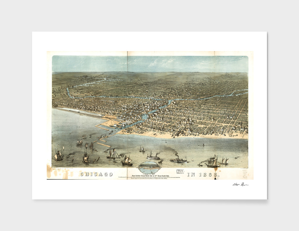 Vintage Pictorial Map of Chicago Illinois (1868)