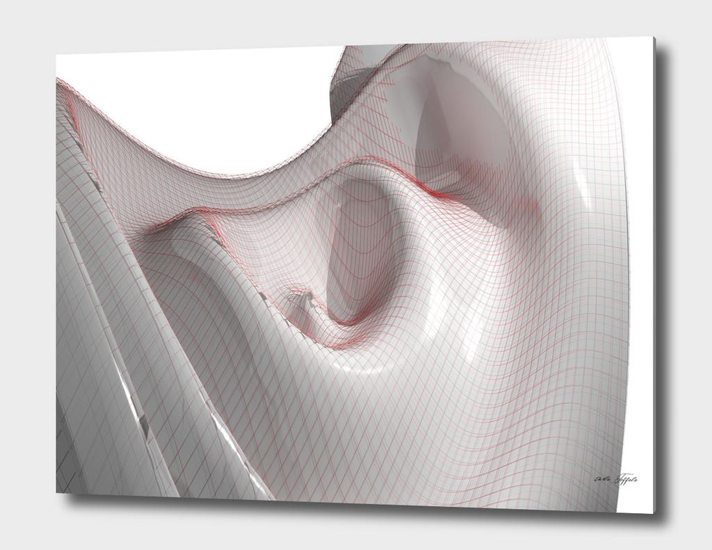White waving mathematical surface