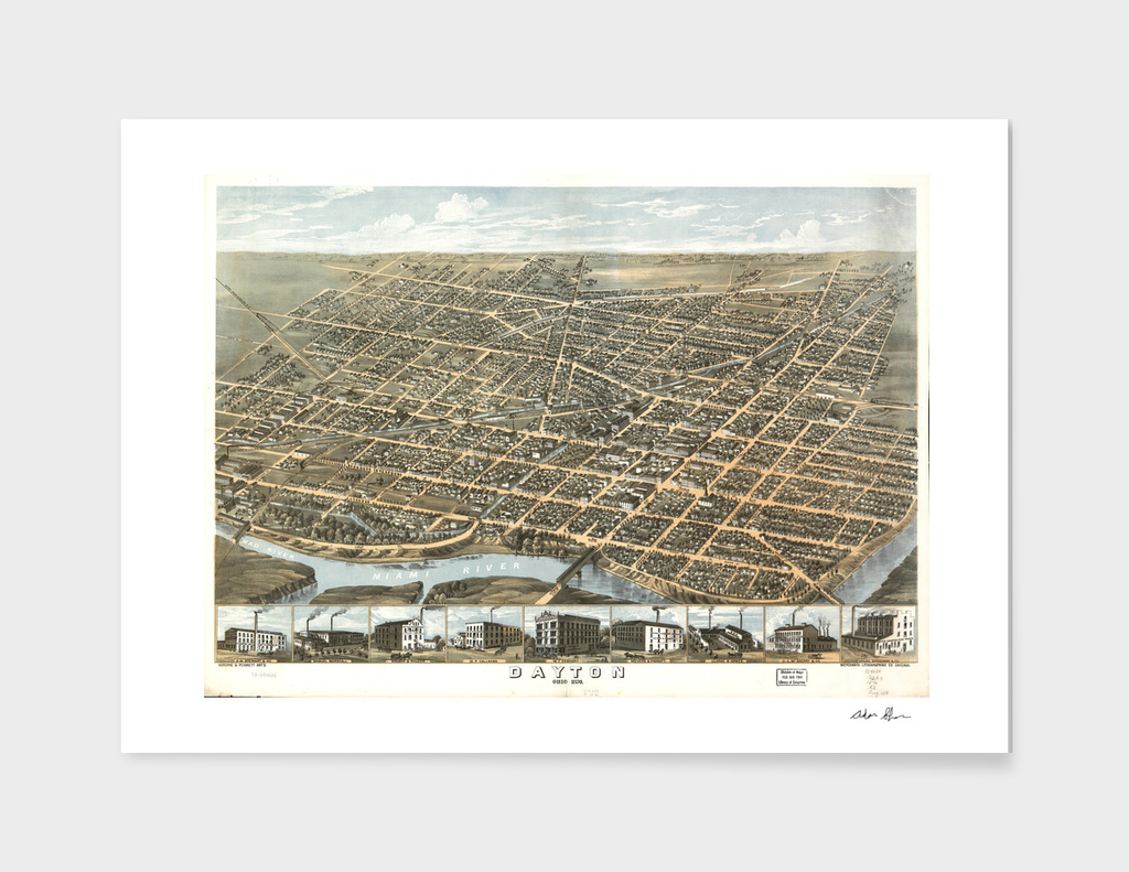 Vintage Pictorial Map of Dayton Ohio (1870)