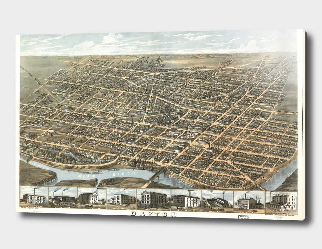 Vintage Pictorial Map of Dayton Ohio (1870)