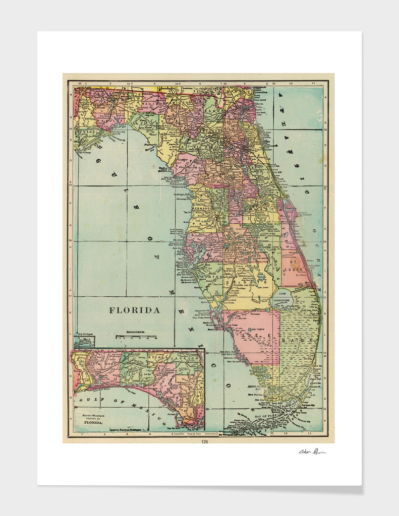 Vintage Map of Florida (1909)