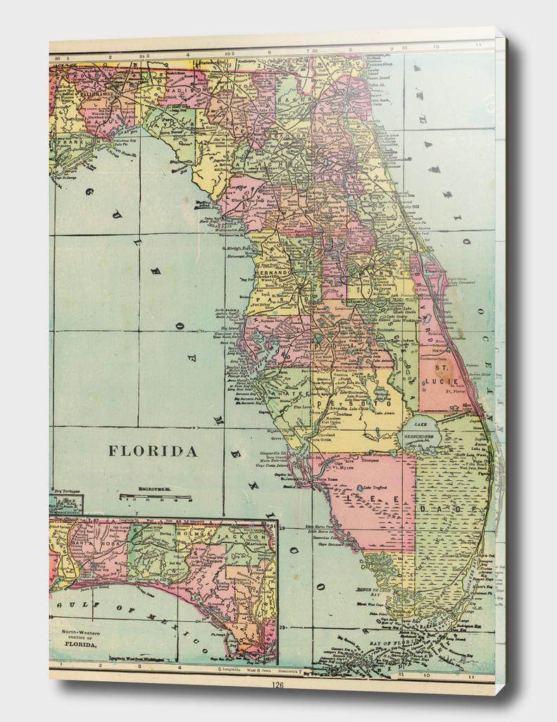 Vintage Map of Florida (1909)