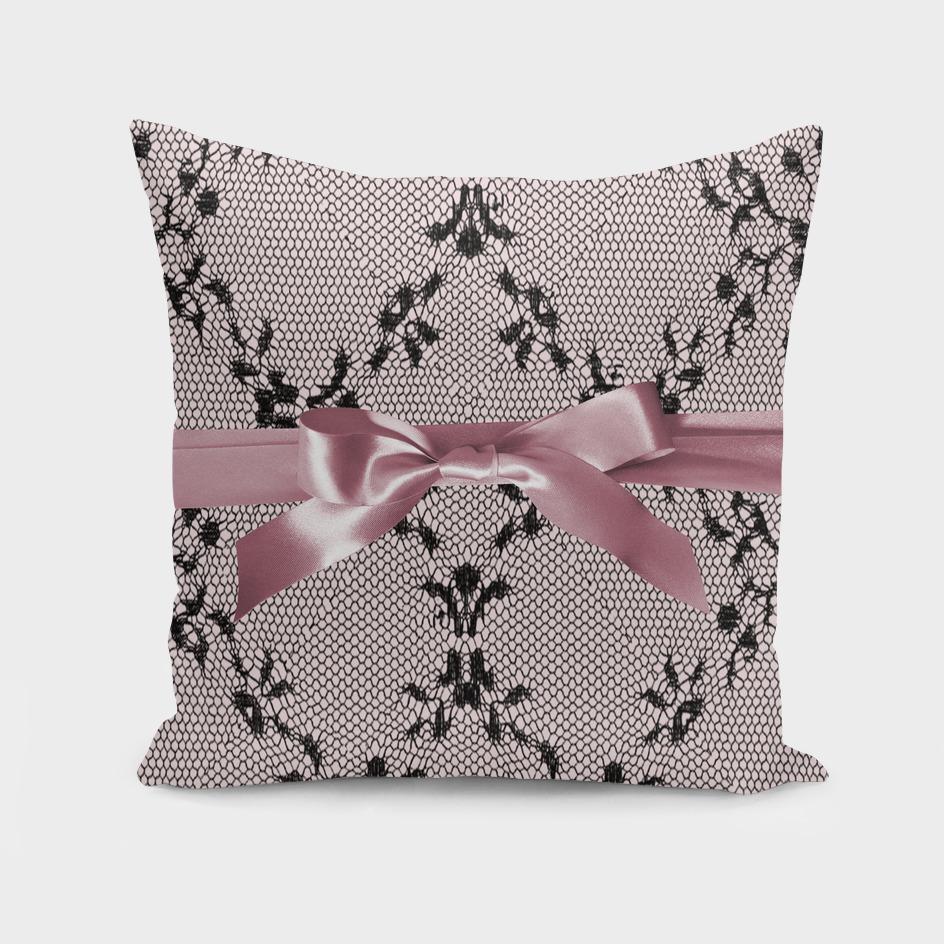 Black lace and pink ribbon