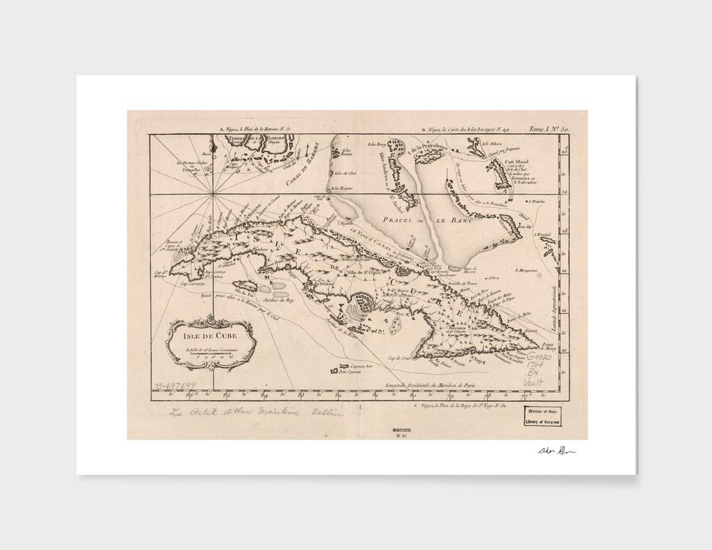 Vintage Map of Cuba (1764)
