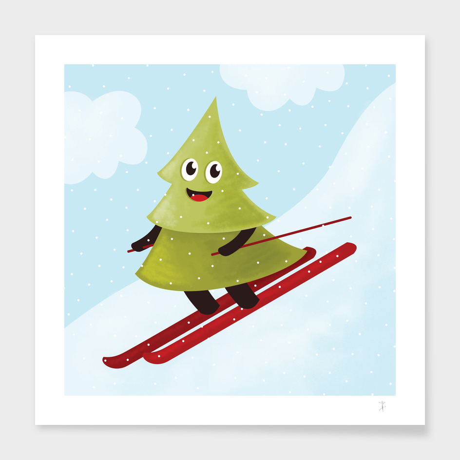 Skiing Happy Pine Tree In Winter