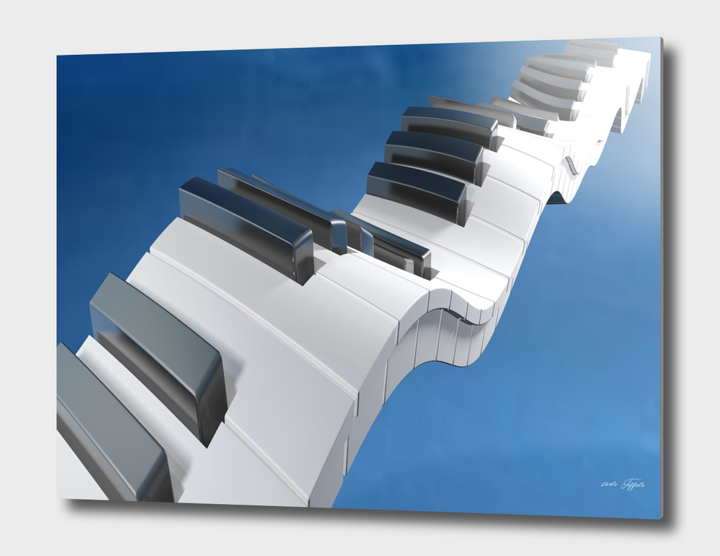 Keyboard of a piano waving on a blue sky