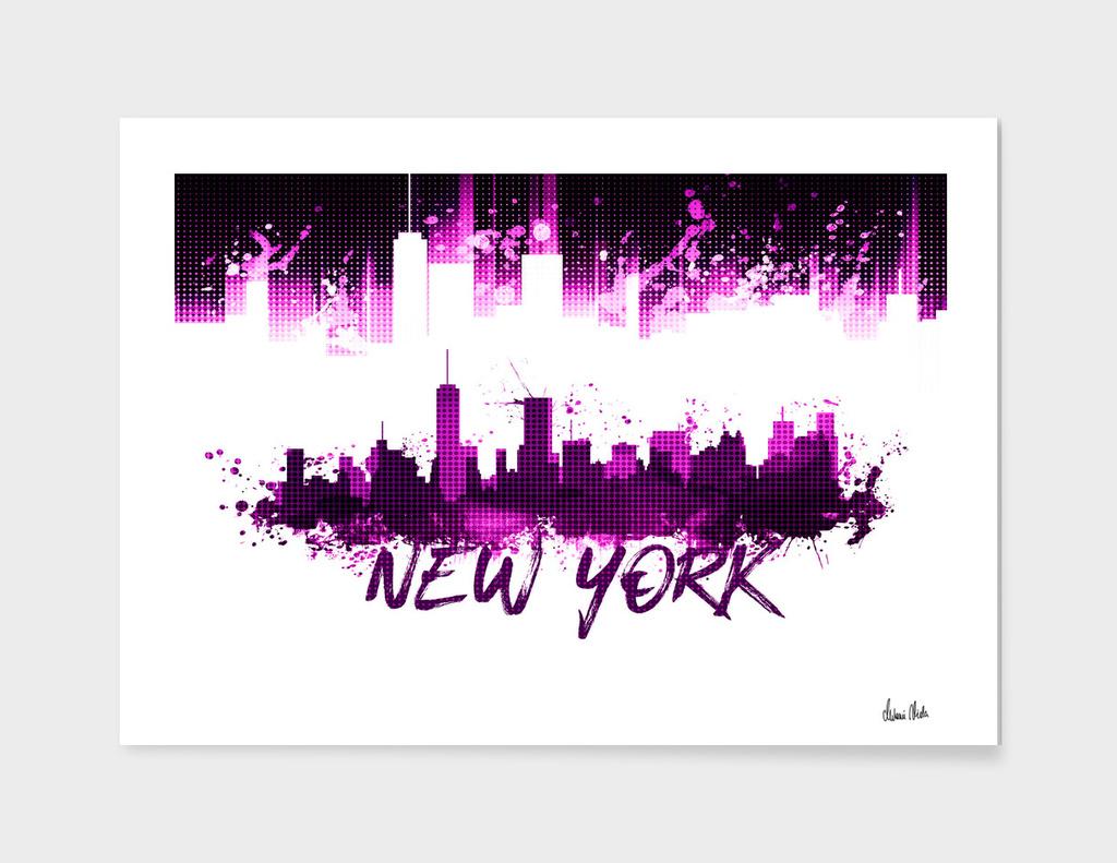 Graphic Art NYC Skyline Splashes | pink
