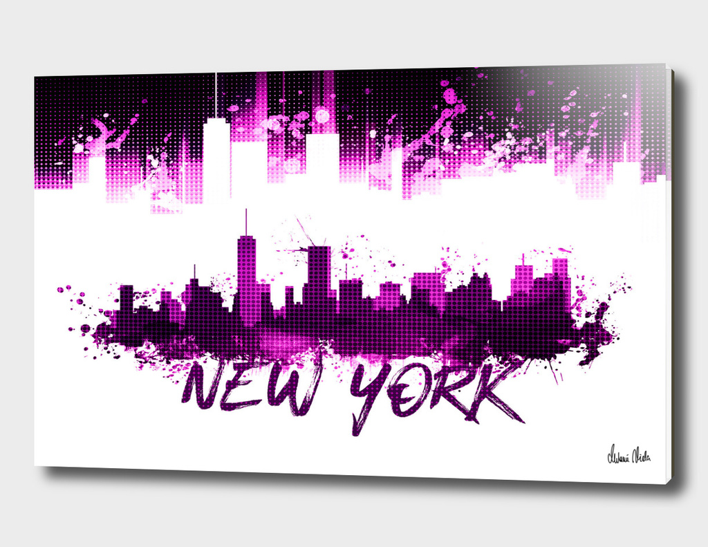 Graphic Art NYC Skyline Splashes | pink