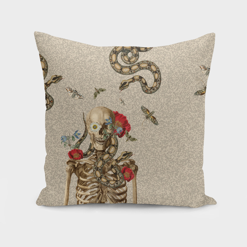 Skeleton and flowers