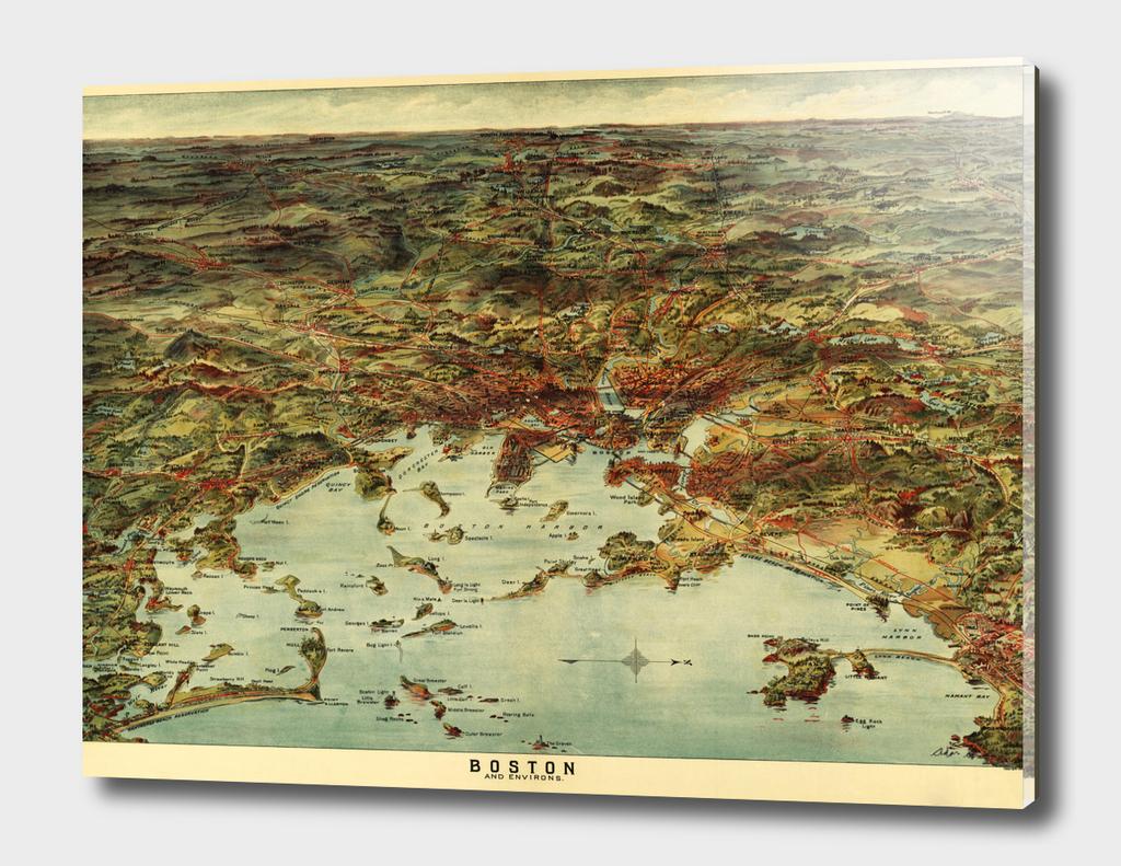 Vintage Map of Boston Massachusetts (1905)