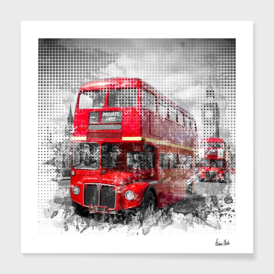 Graphic Art LONDON WESTMINSTER Red Buses