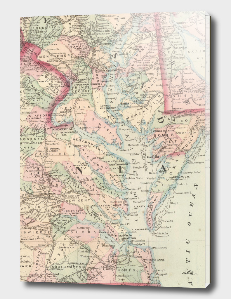 Vintage Map of The Chesapeake Bay (1875)