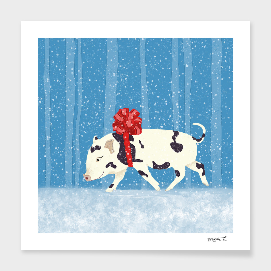 Cute Little Pig Holiday Design