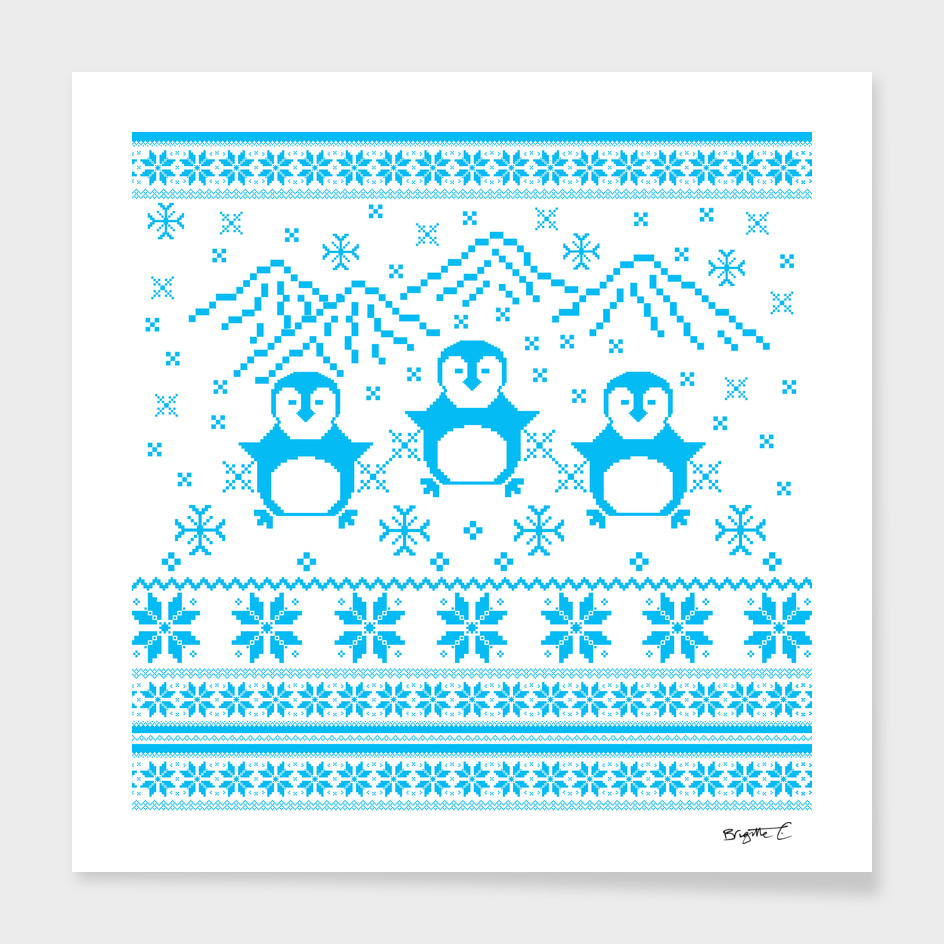 Blue Scandinavian Penguin Holiday Design