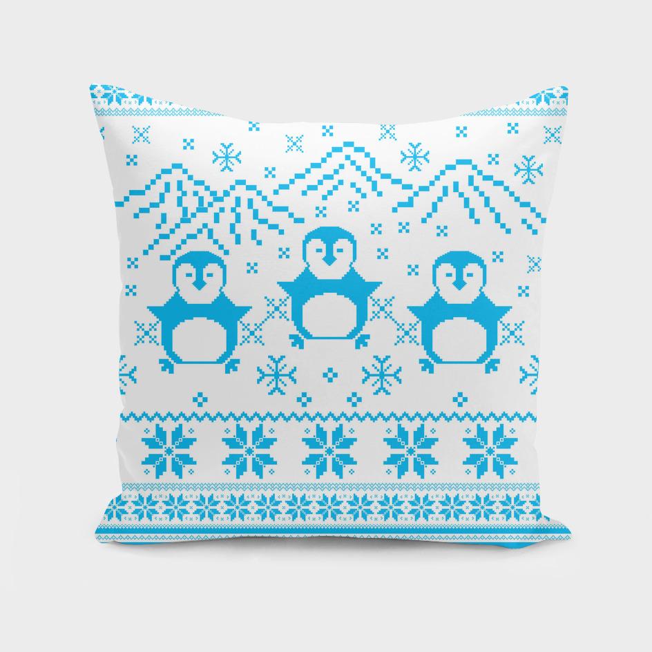 Blue Scandinavian Penguin Holiday Design