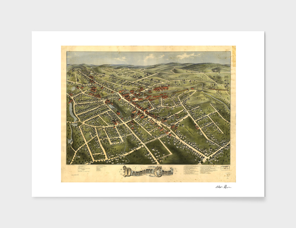Vintage Pictorial Map of Danbury Connecticut (1875)
