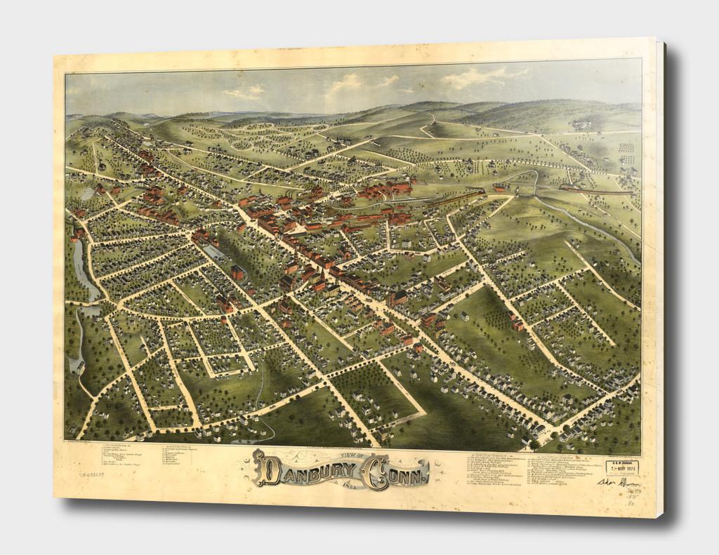 Vintage Pictorial Map of Danbury Connecticut (1875)
