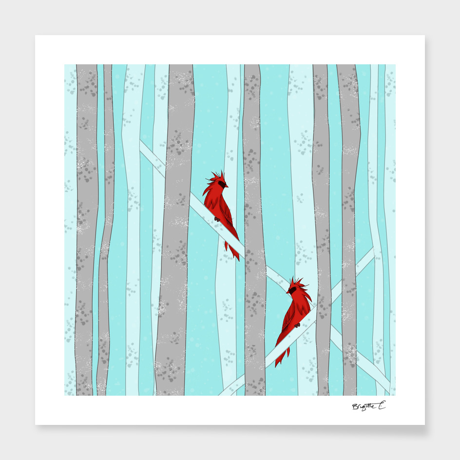 Holiday Forest Cardinals Design