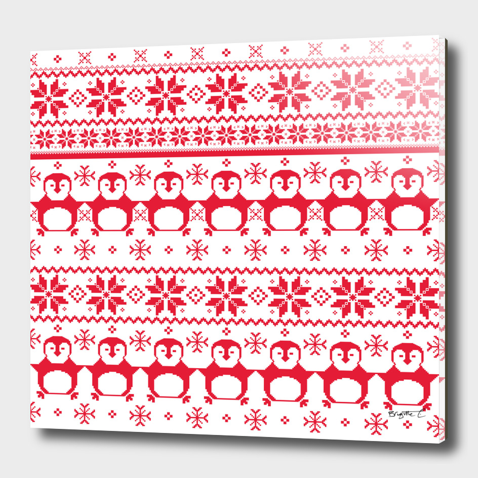 Red Scandinavian Penguin Holiday Design