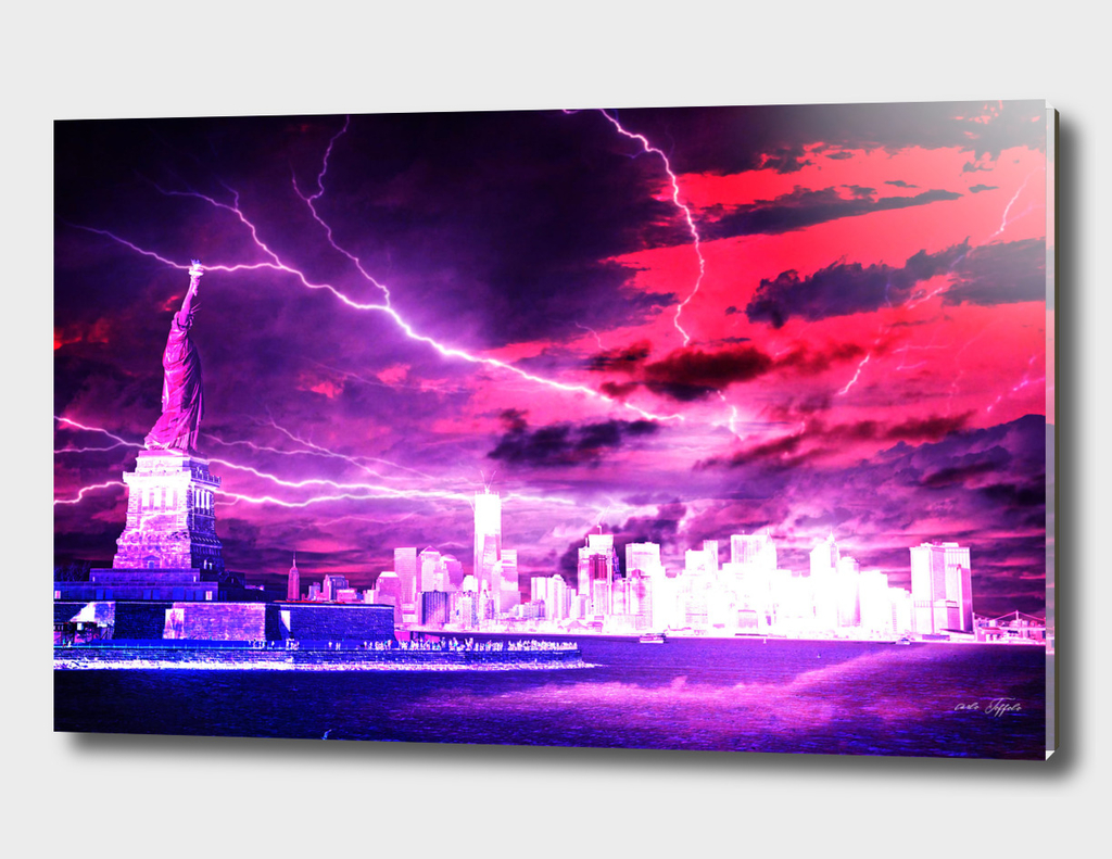 New York in abstract storm
