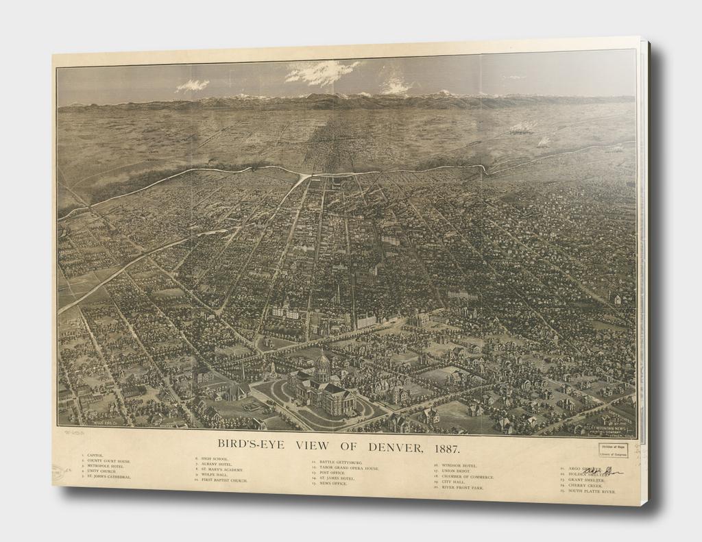 Vintage Pictorial Map of Denver Colorado (1887)