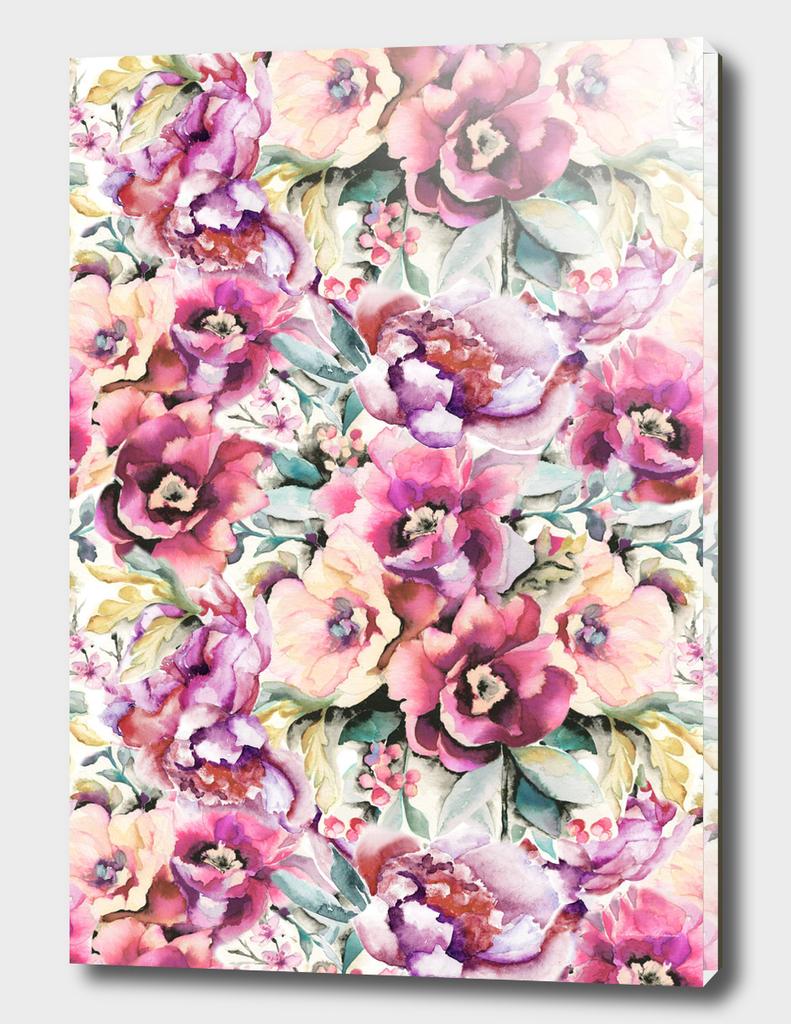 Watercolor peonies pattern