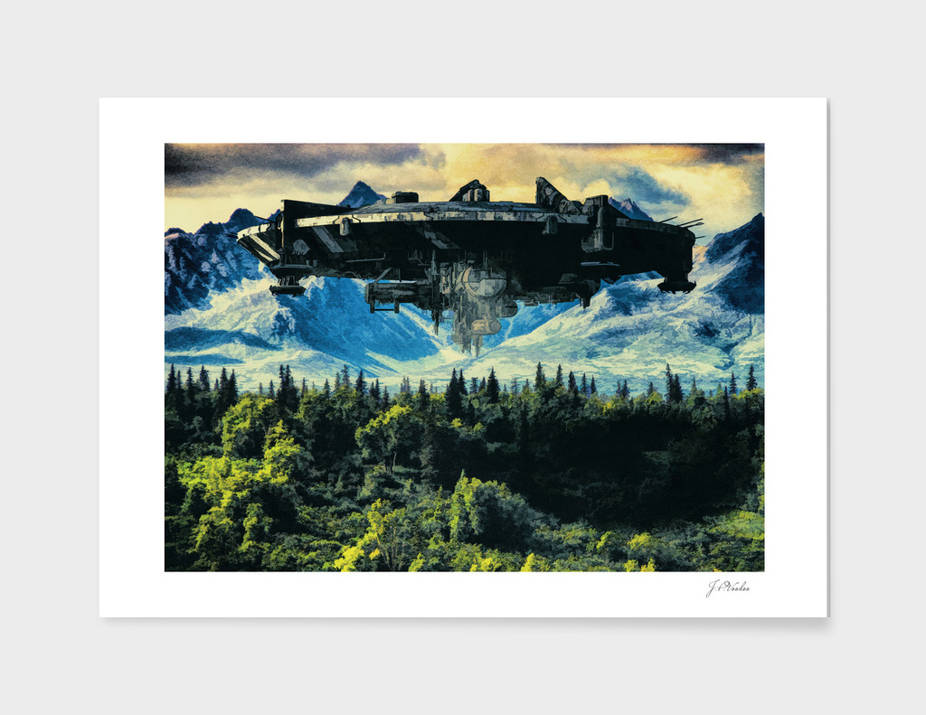 The alien ship over the forest