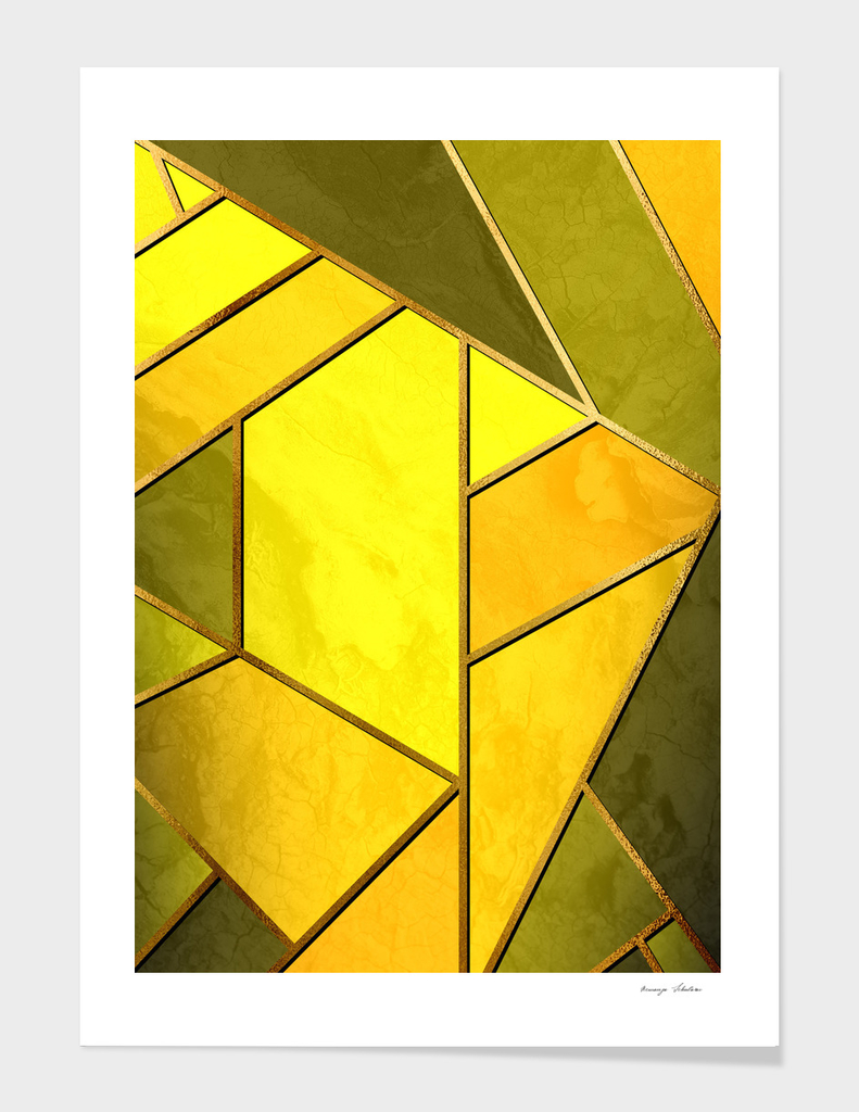 Mosaic with golden lines.