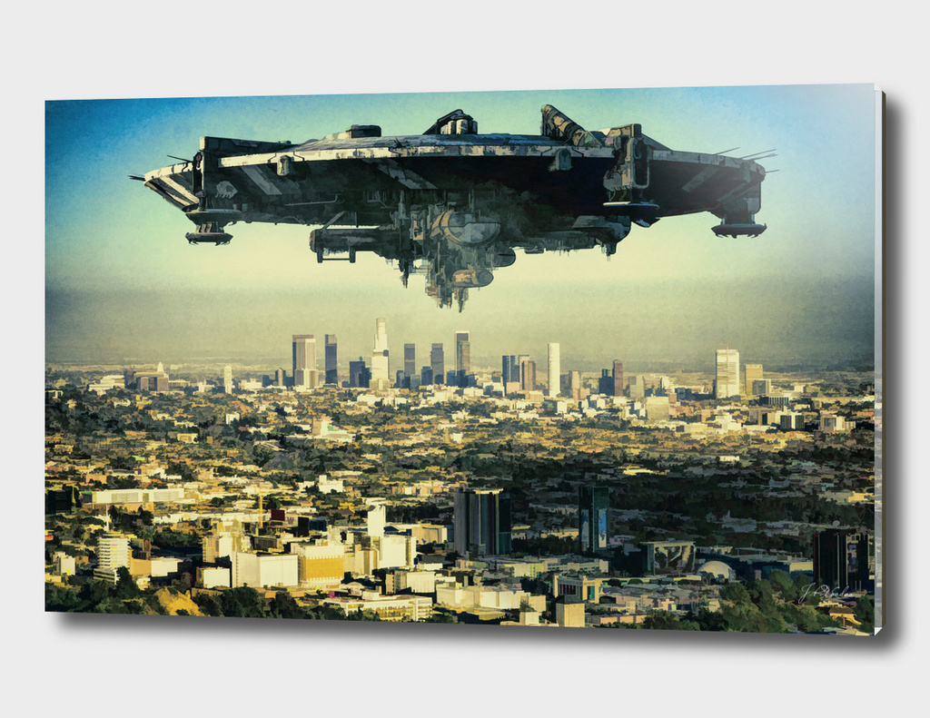 The alien ship over the Los Angeles